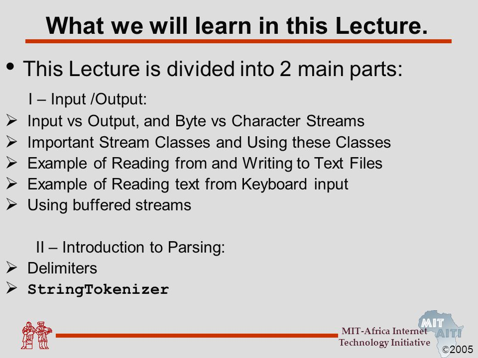 What we will learn in this Lecture.