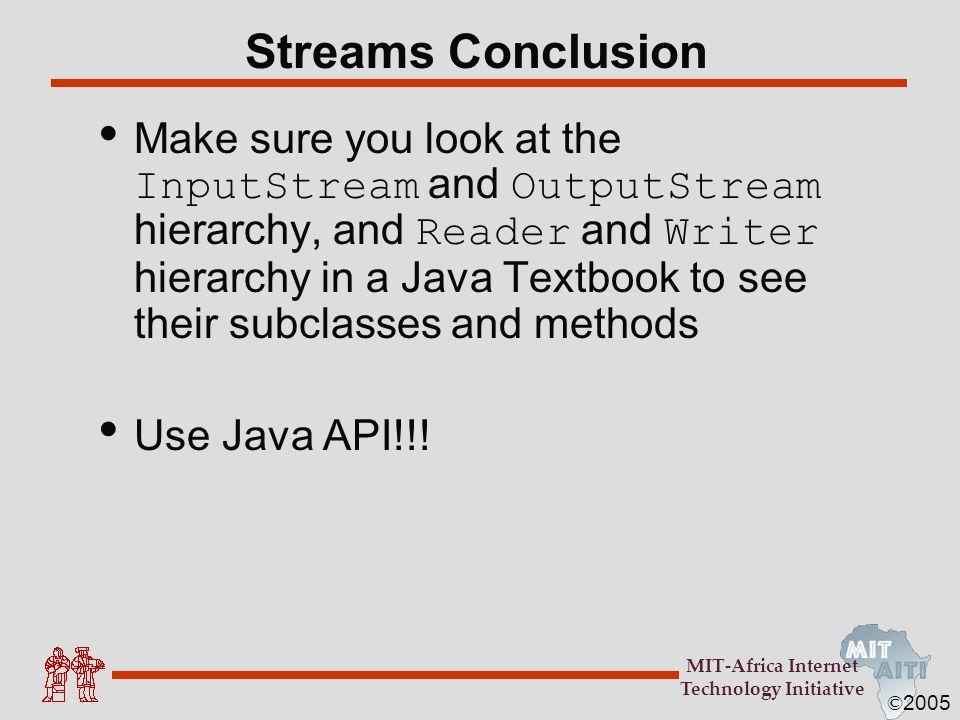 Streams Conclusion