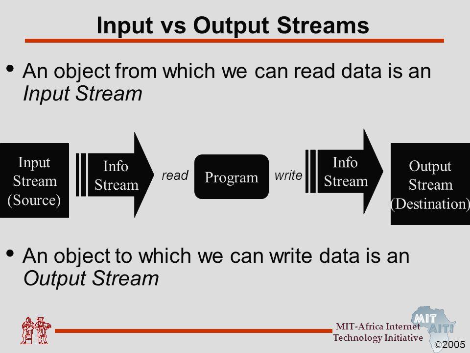 Input vs Output Streams