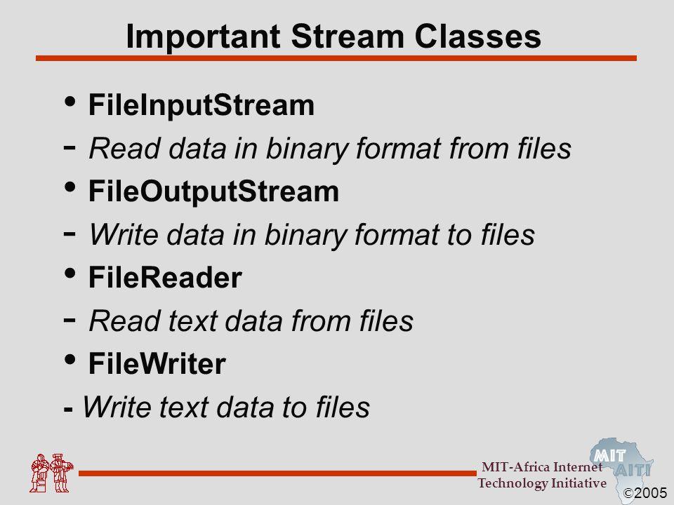 Important Stream Classes