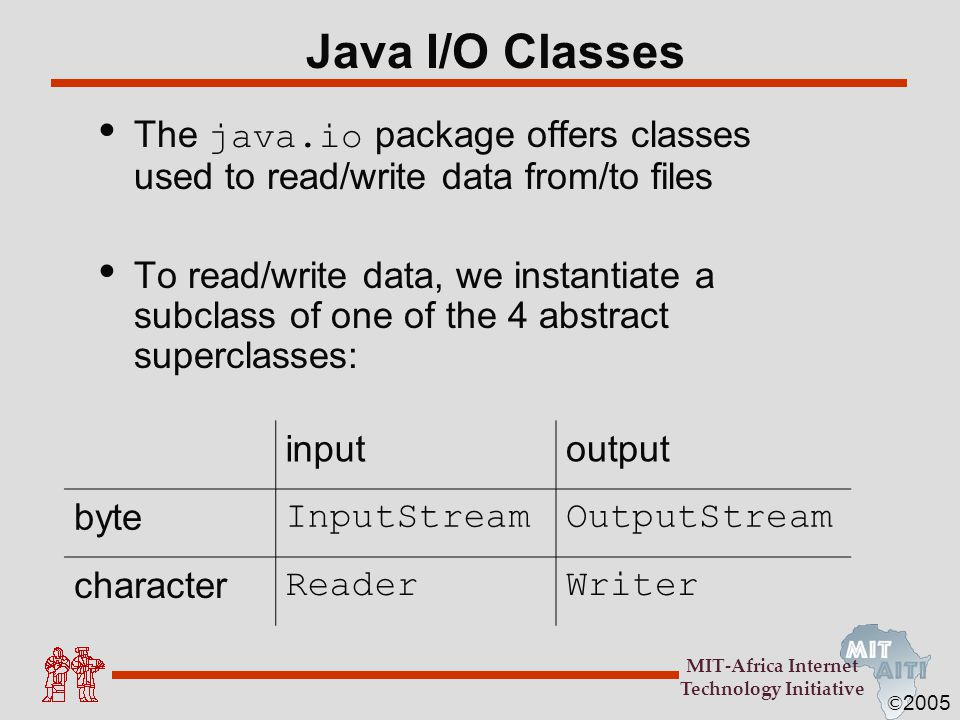 Java I/O Classes The java.io package offers classes used to read/write data from/to files.