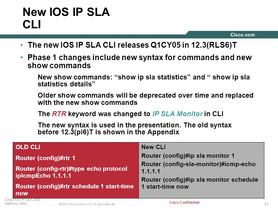 New IOS IP SLA CLI The new IOS IP SLA CLI releases Q1CY05 in 12.3(RLS6)T. Phase 1 changes include new syntax for commands and new show commands.