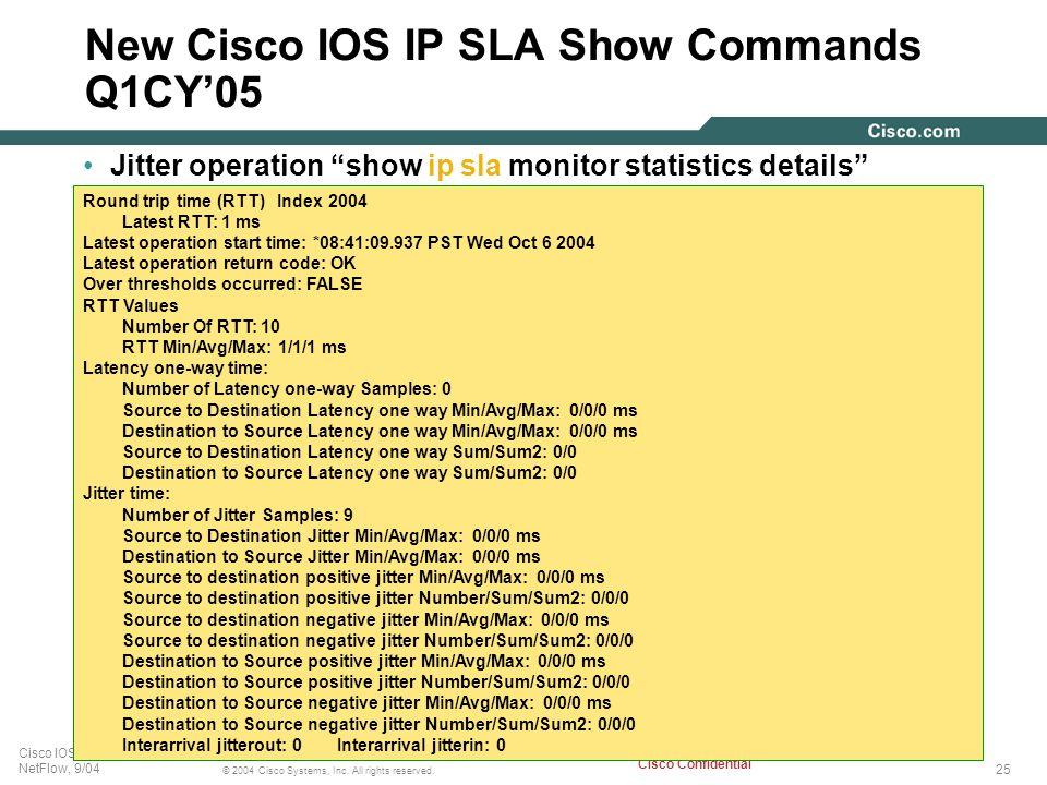 New Cisco IOS IP SLA Show Commands Q1CY'05