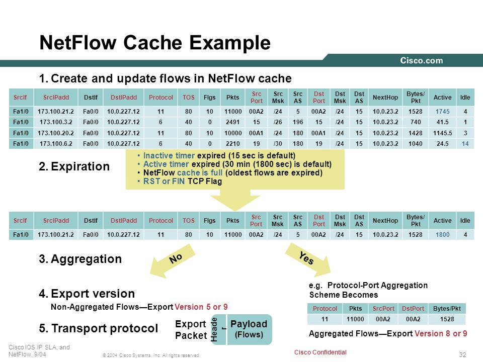 Non-Aggregated Flows—Export Version 5 or 9