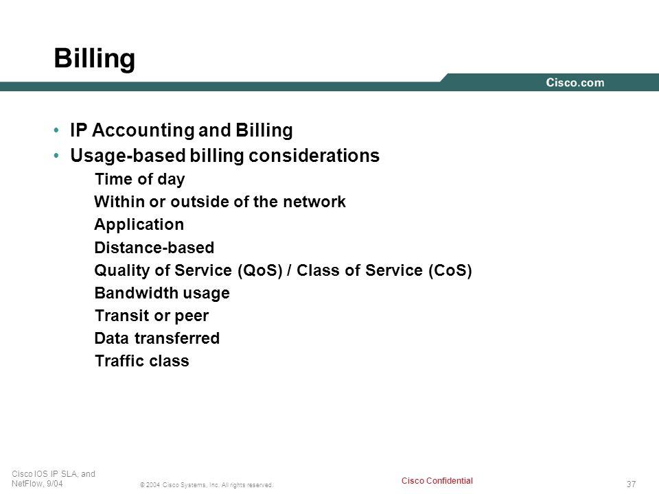 Billing IP Accounting and Billing Usage-based billing considerations