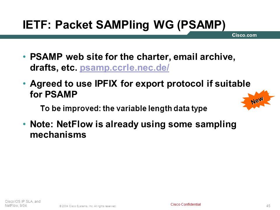 IETF: Packet SAMPling WG (PSAMP)