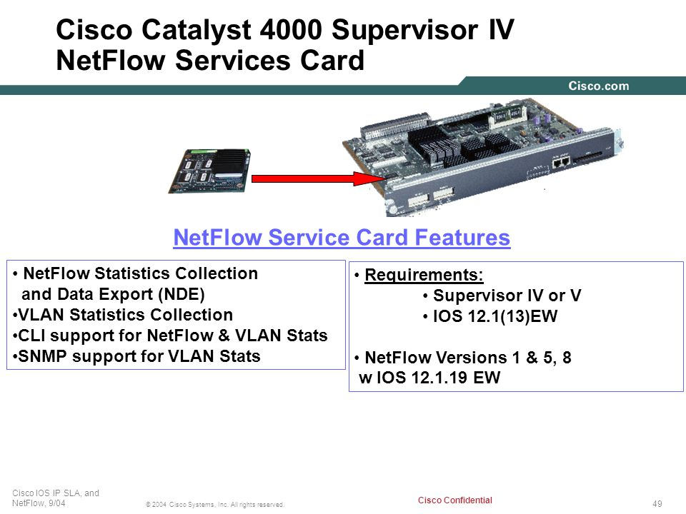 Cisco Catalyst 4000 Supervisor IV NetFlow Services Card