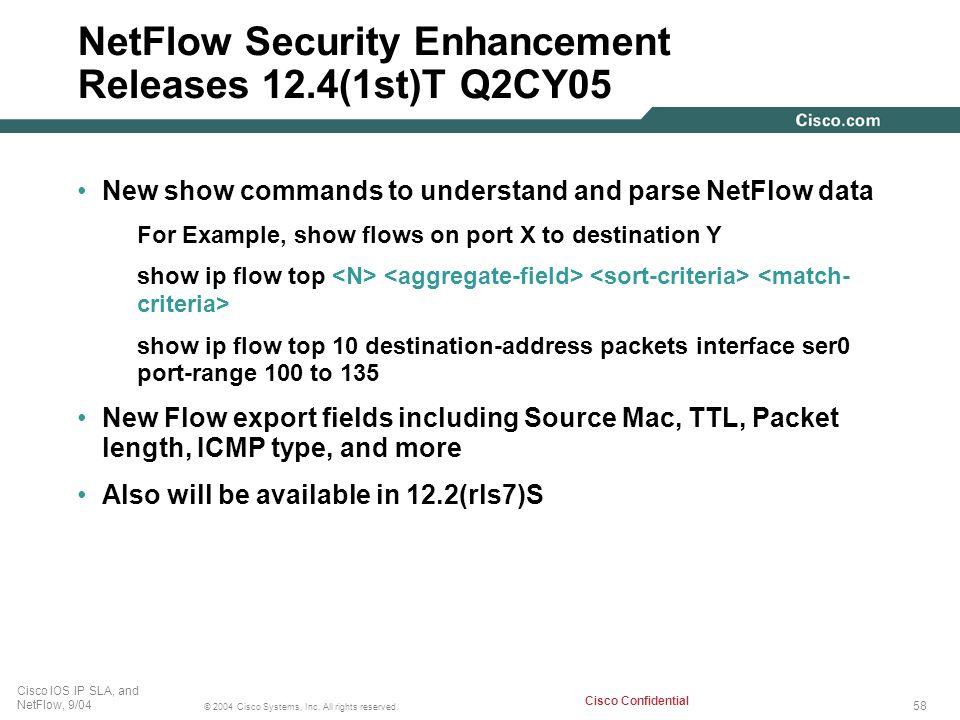 NetFlow Security Enhancement Releases 12.4(1st)T Q2CY05