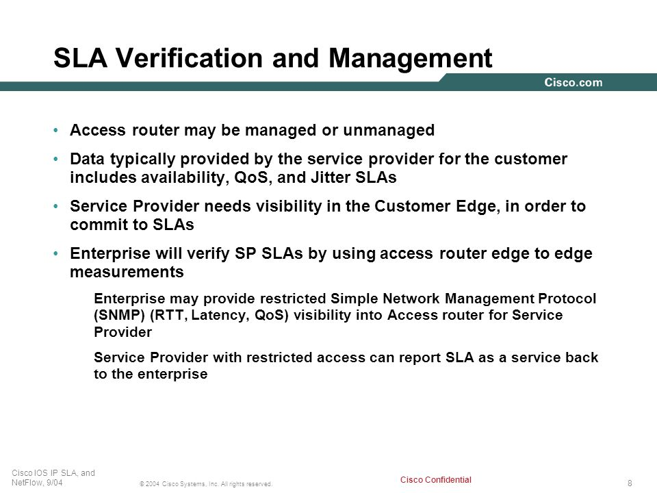 SLA Verification and Management