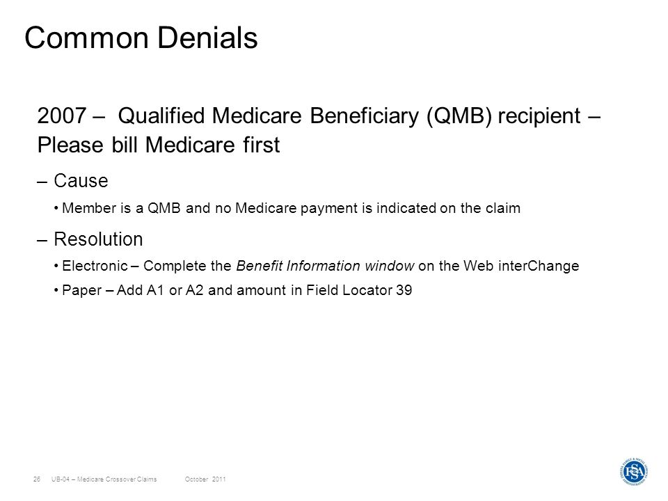 UB-04 Medicare Crossover Claims - ppt download