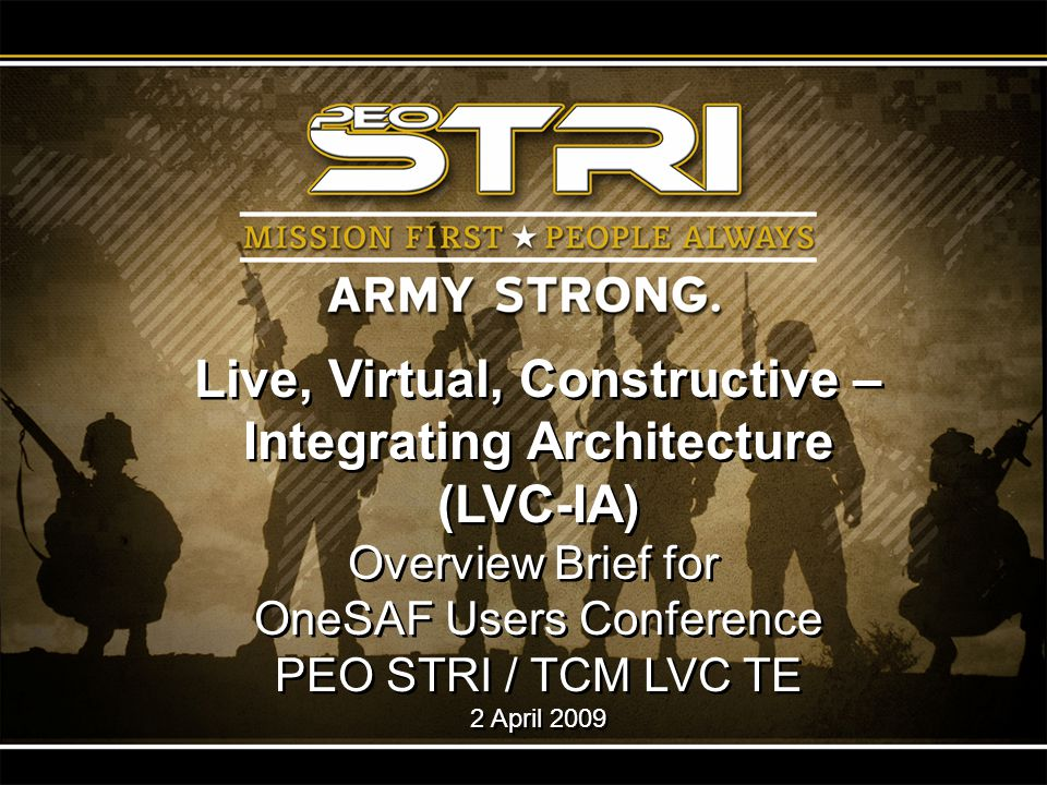 Live, Virtual, Constructive – Integrating Architecture