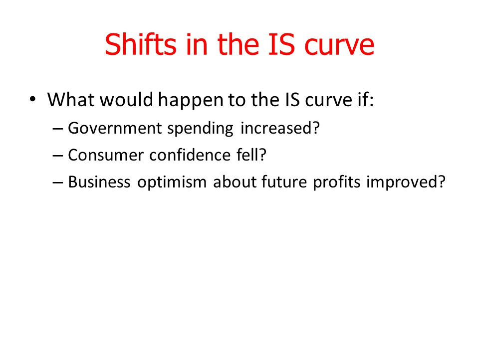 Shifts in the IS curve What would happen to the IS curve if: