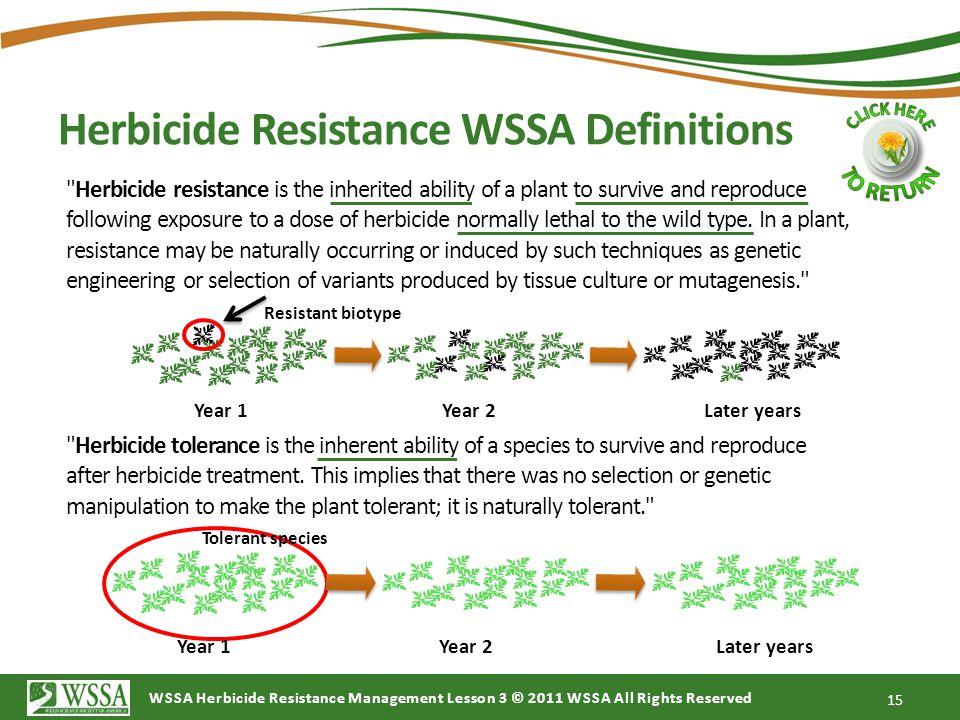 Herbicide Resistance WSSA Definitions