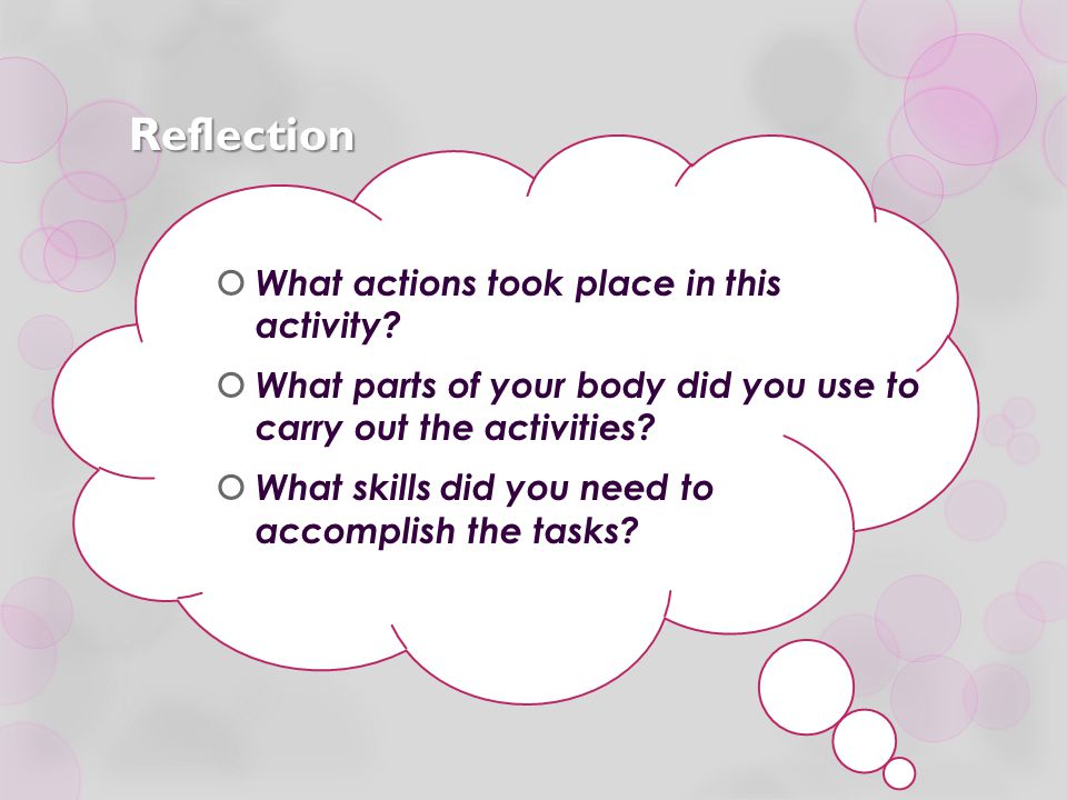 Reflection What actions took place in this activity