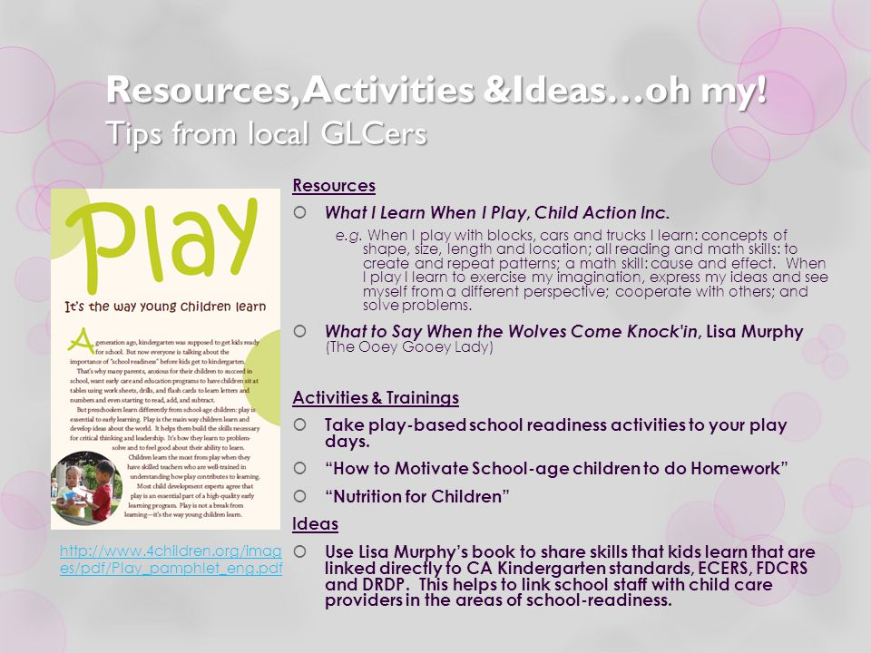 Resources, Activities &Ideas…oh my! Tips from local GLCers