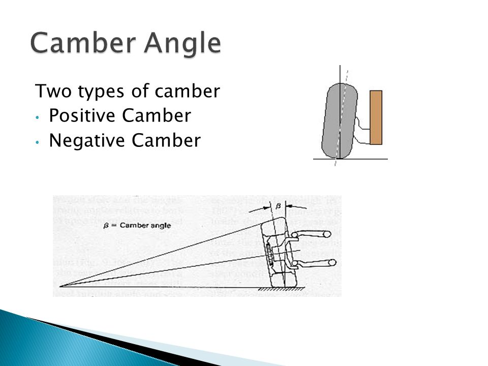 Camber Angle Two types of camber Positive Camber Negative Camber