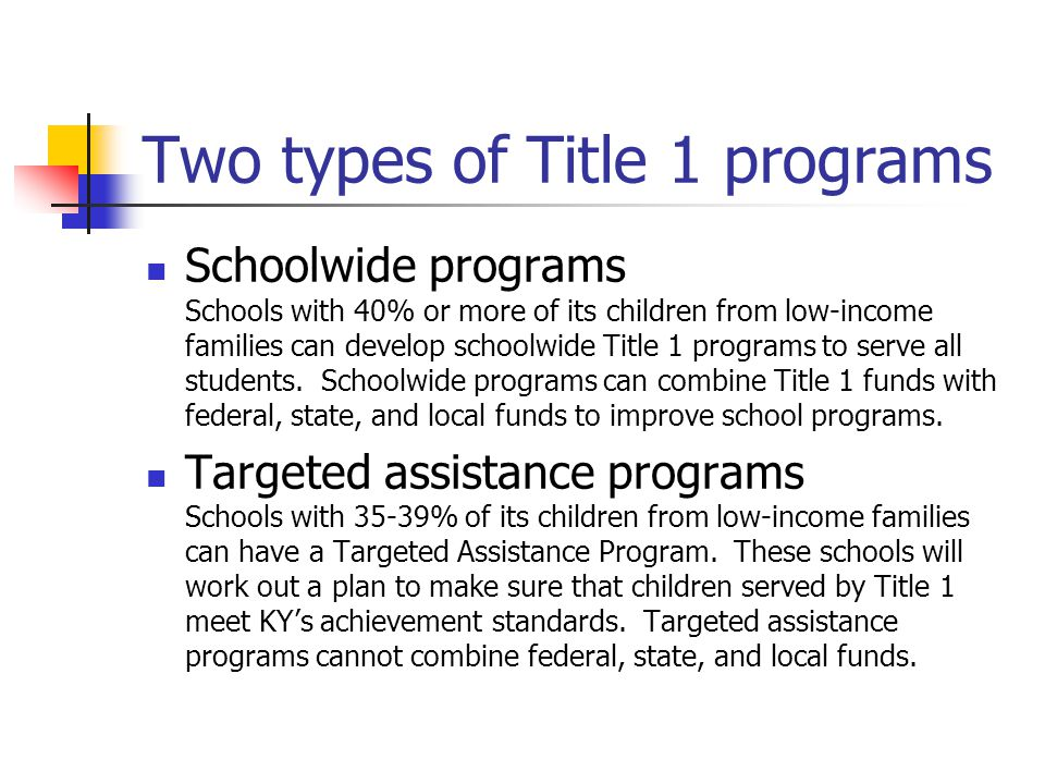Two types of Title 1 programs