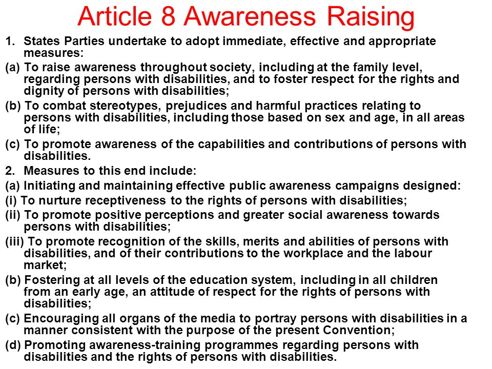 Article 8 Awareness Raising