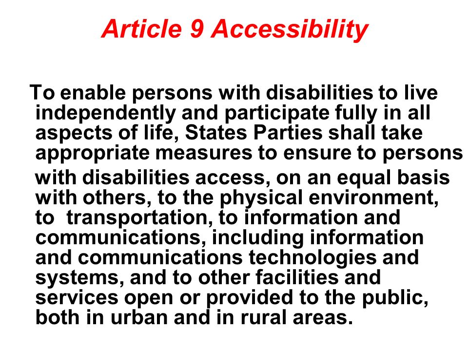 Article 9 Accessibility