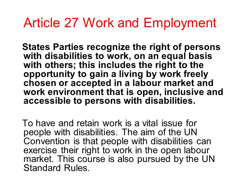Article 27 Work and Employment