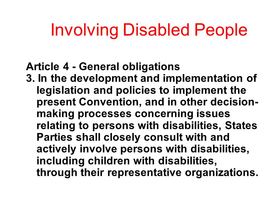 Involving Disabled People