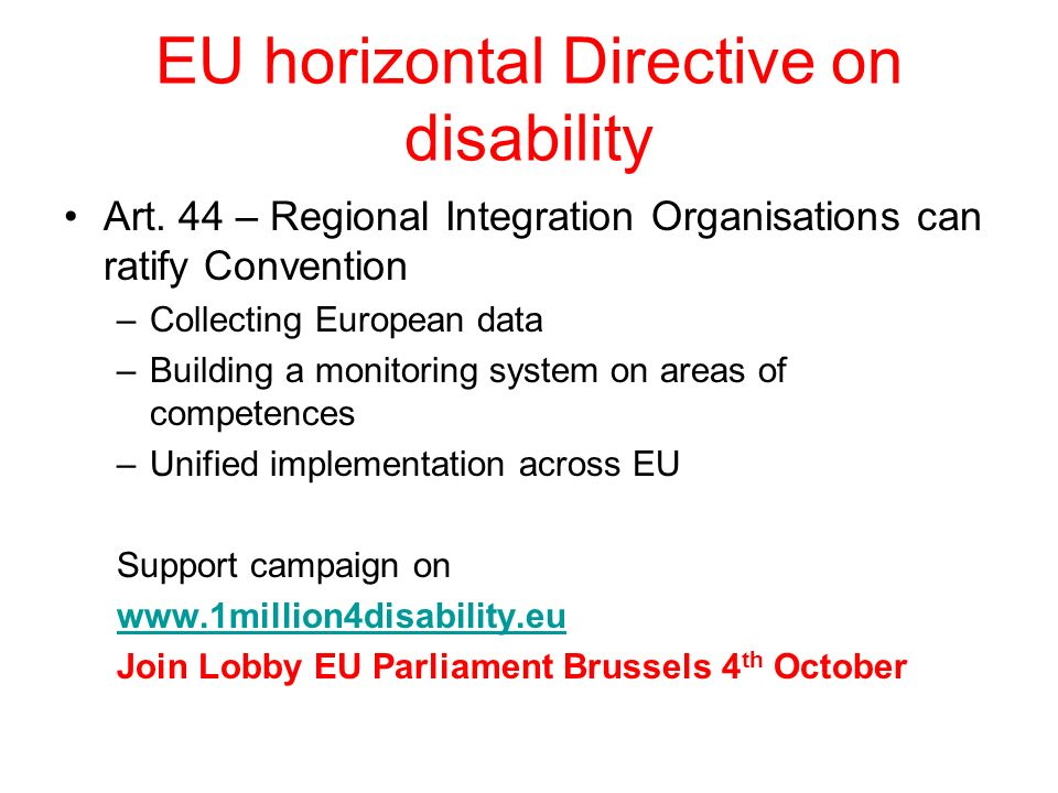 EU horizontal Directive on disability