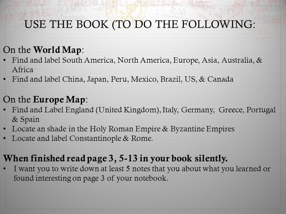 USE THE BOOK (TO DO THE FOLLOWING: