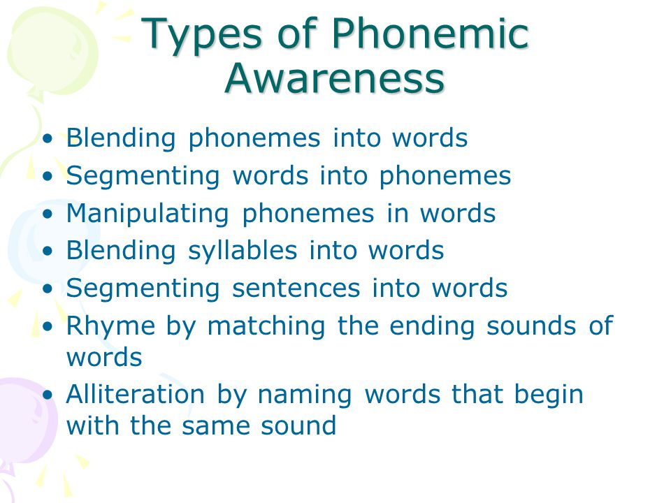 Types of Phonemic Awareness