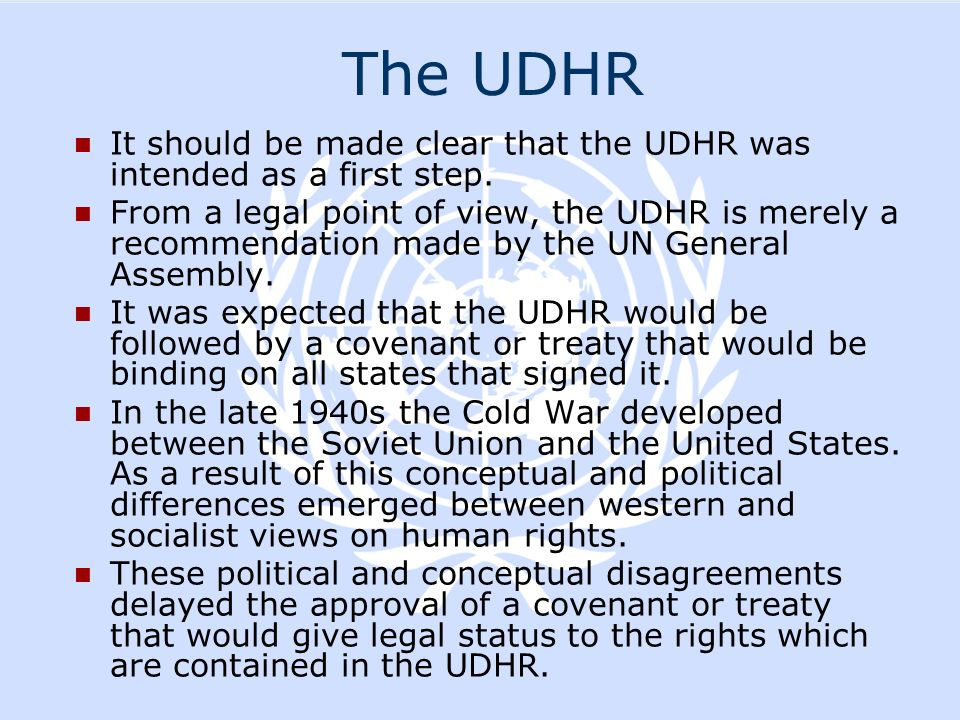 The UDHR It should be made clear that the UDHR was intended as a first step.