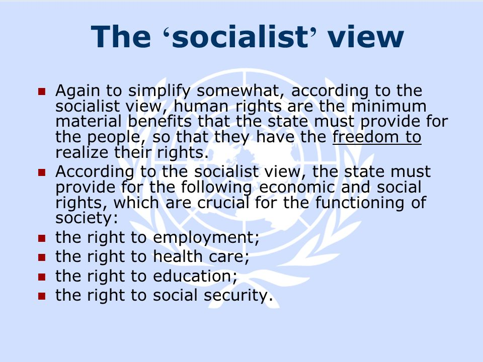 The 'socialist' view