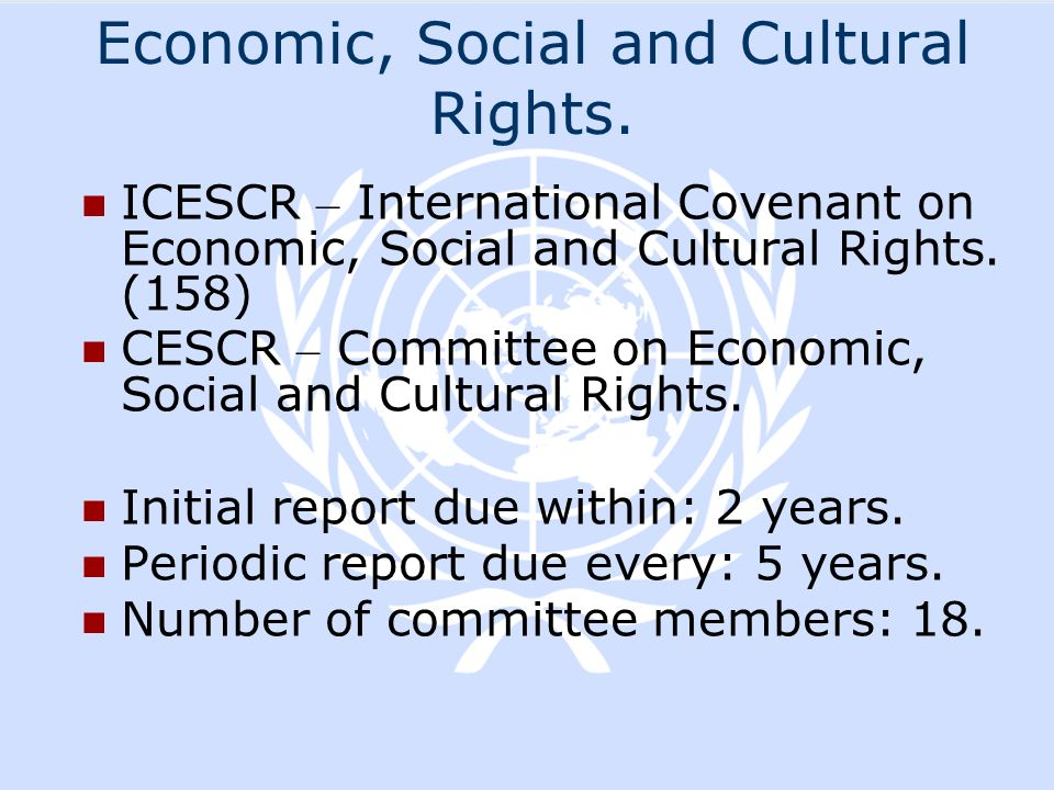 Economic, Social and Cultural Rights.