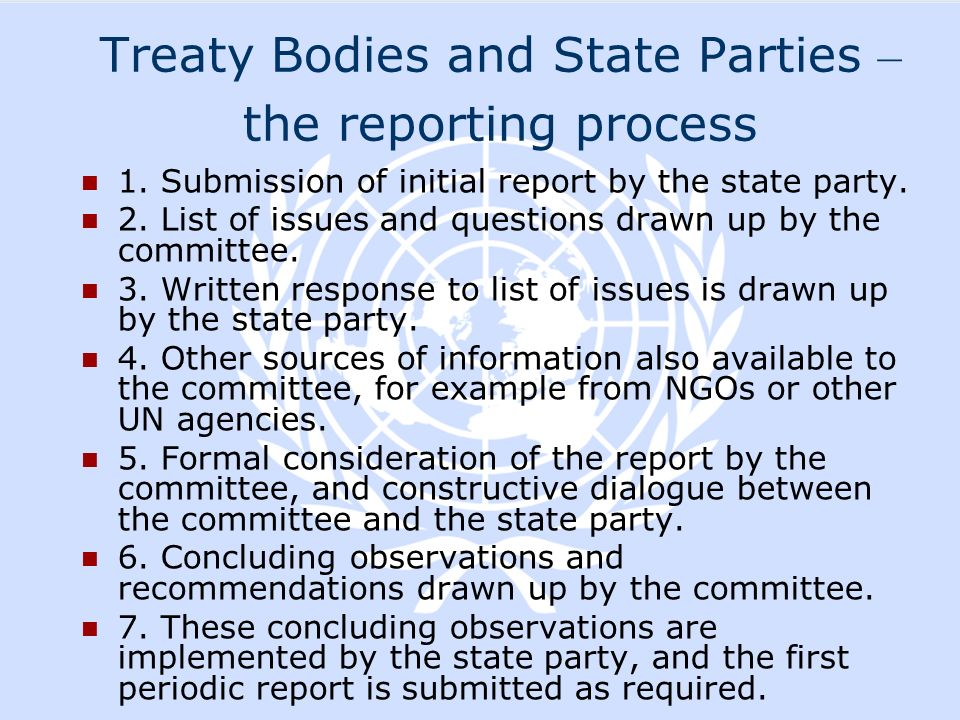 Treaty Bodies and State Parties – the reporting process