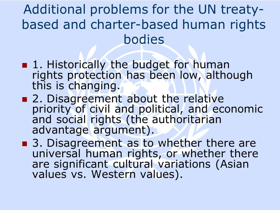 Additional problems for the UN treaty-based and charter-based human rights bodies