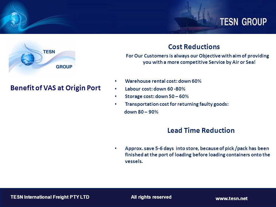 Cost Reductions Lead Time Reduction