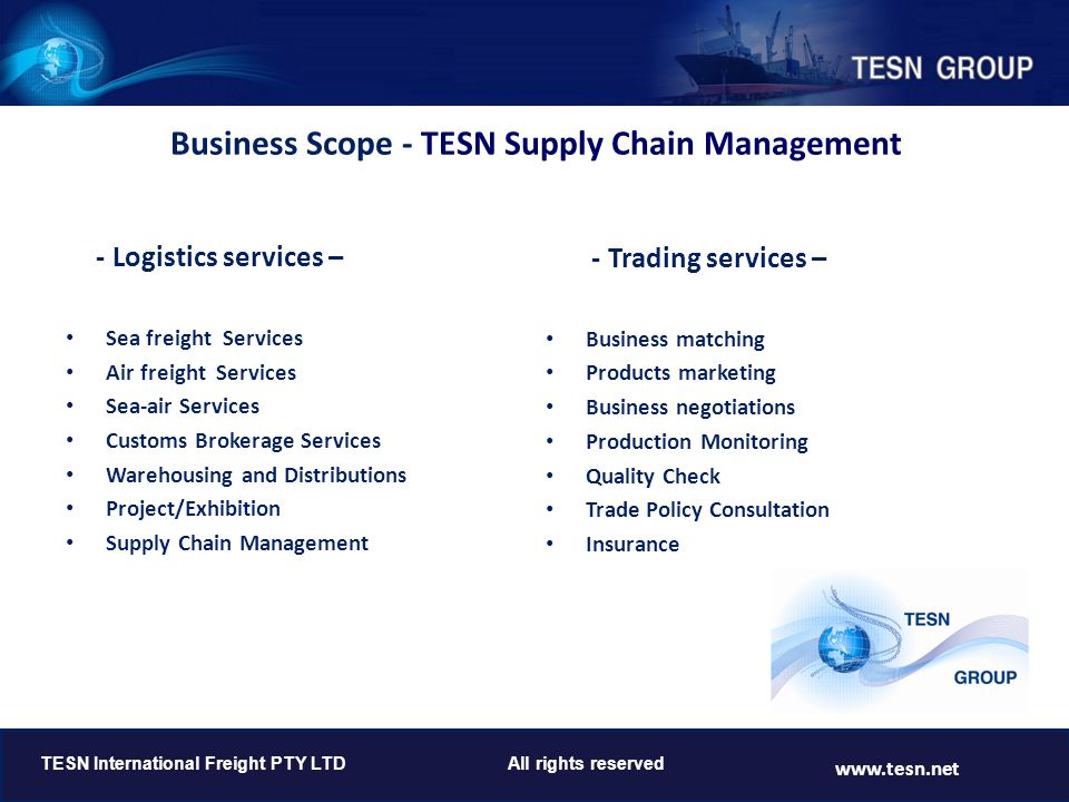 Business Scope - TESN Supply Chain Management
