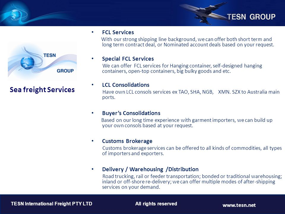 Sea freight Services FCL Services Special FCL Services