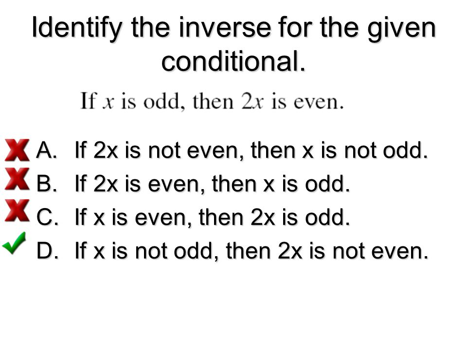 Identify the inverse for the given conditional.