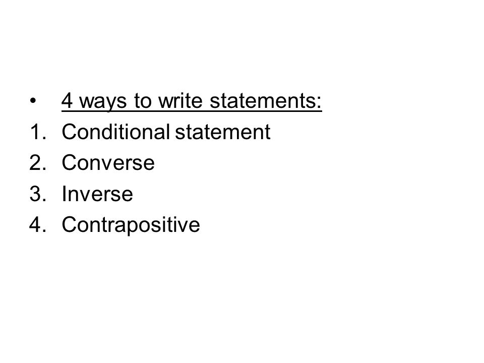 4 ways to write statements: