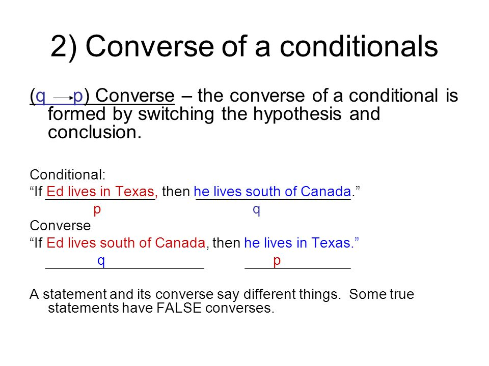 2) Converse of a conditionals