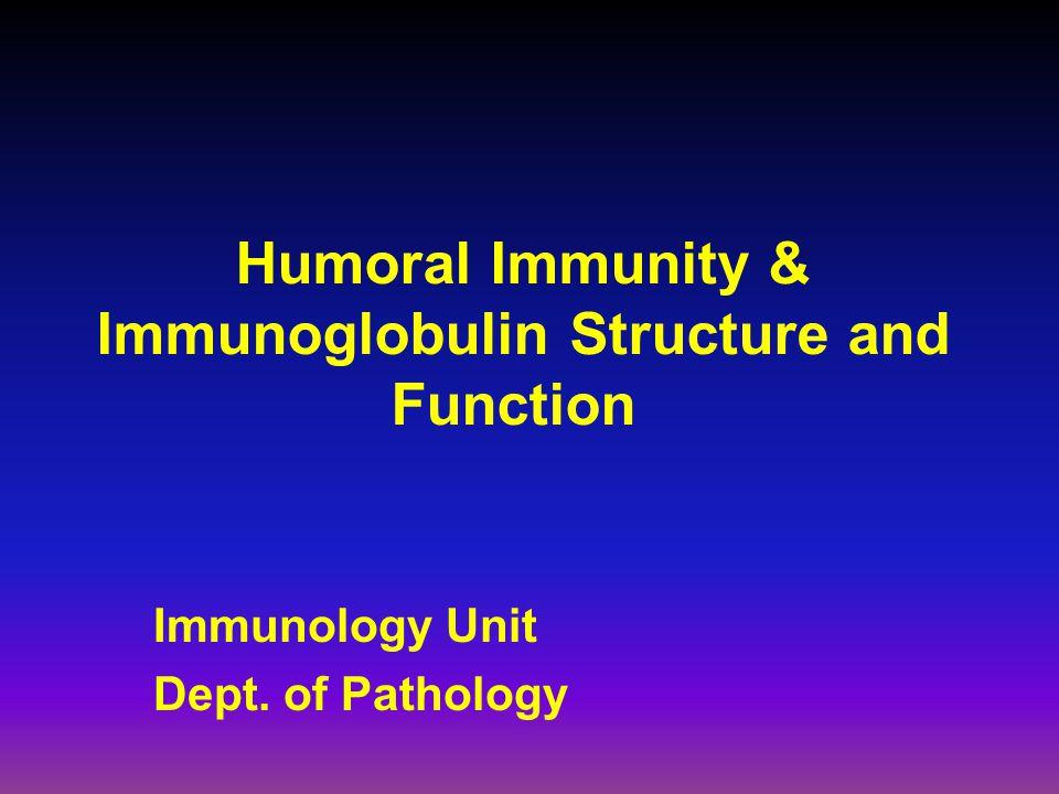 Humoral Immunity & Immunoglobulin Structure and Function