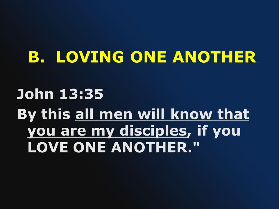 B. LOVING ONE ANOTHER John 13:35