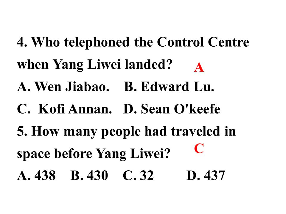 4. Who telephoned the Control Centre
