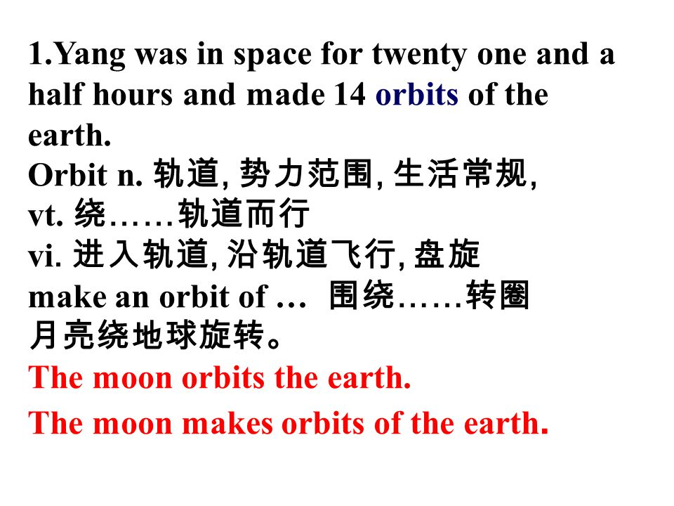 1.Yang was in space for twenty one and a half hours and made 14 orbits of the earth.