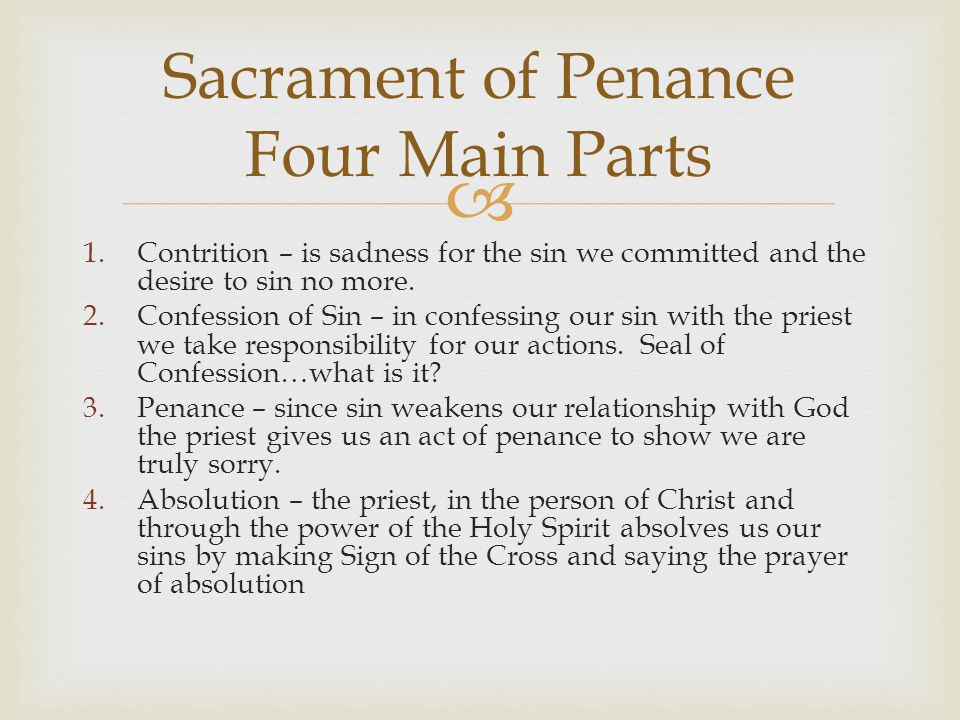 Sacrament of Penance Four Main Parts