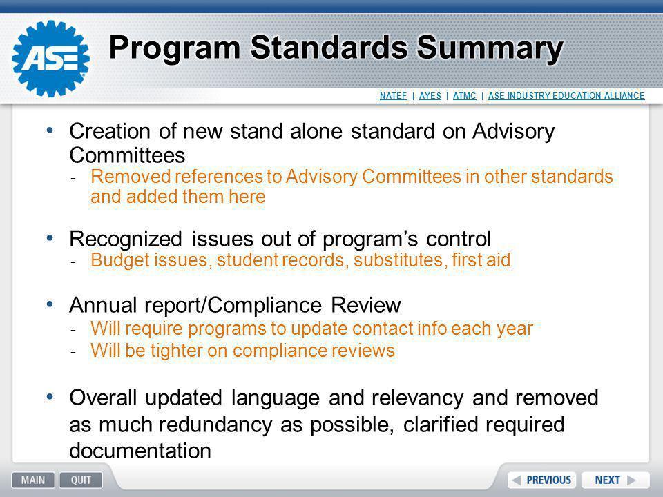 Program Standards Summary