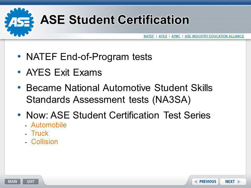ASE Student Certification