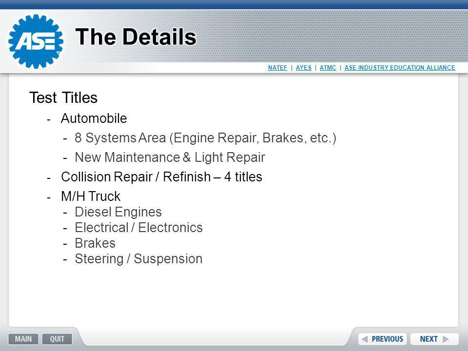 The Details Test Titles Automobile