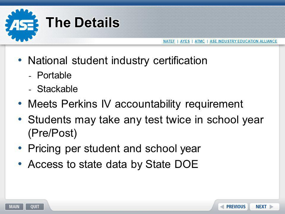 The Details National student industry certification