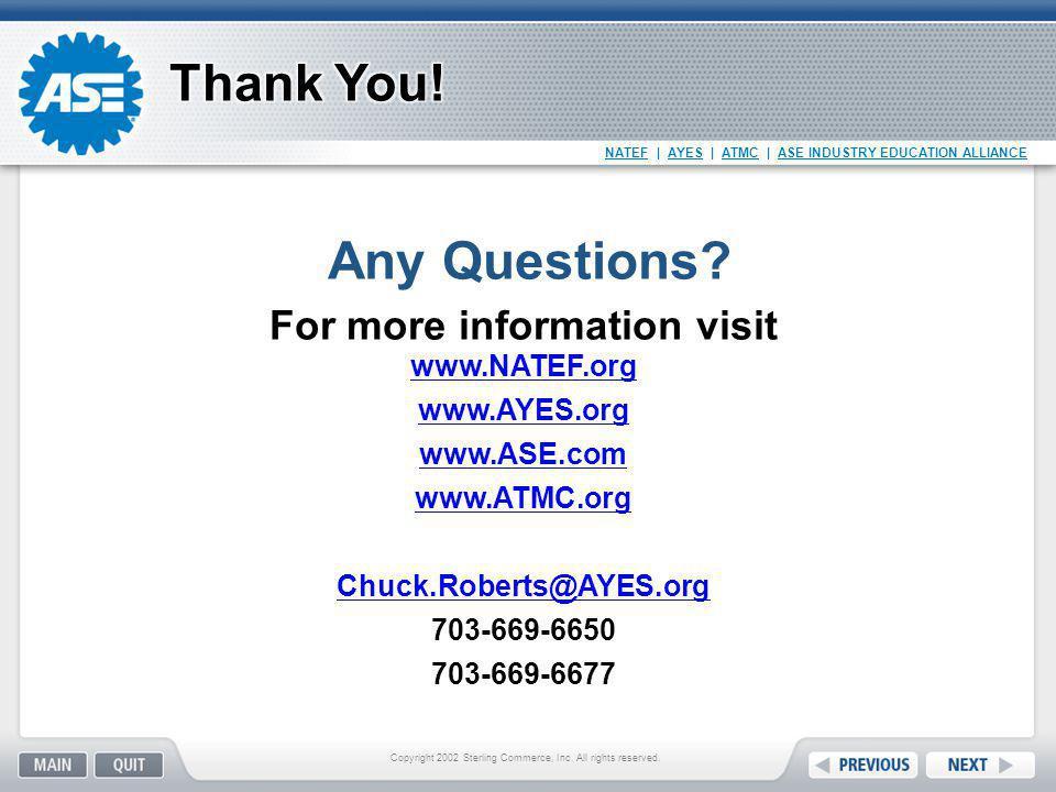 For more information visit www.NATEF.org