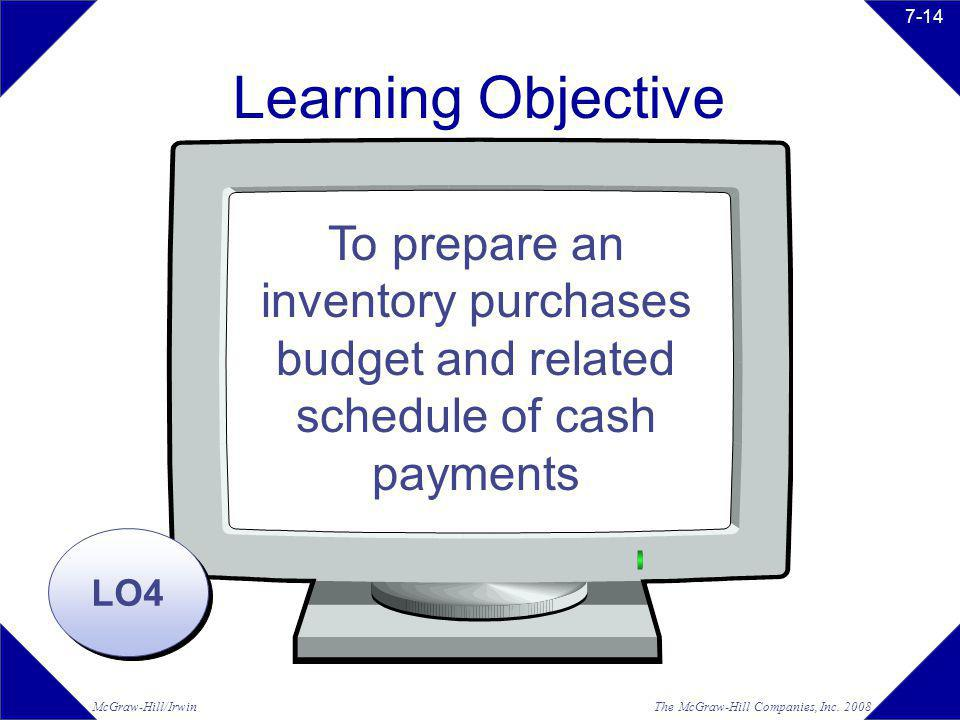 Learning Objective To prepare an inventory purchases budget and related schedule of cash payments.